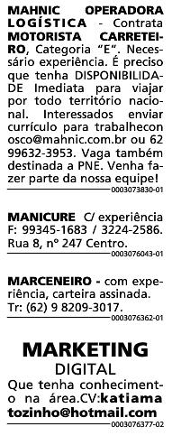 VAGAS JORNAL O POPULAR 03/08/2020