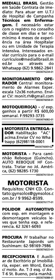 VAGAS JORNAL O POPULAR 01/08/2020